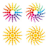 Colorful sun. Composition of dots Stock Photography