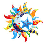 Colorful Sun and Moon. A colorful abstract sun and moon isolated over white Stock Images