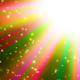 Colorful sun's rays with stars Stock Photos