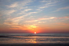 Colorful sundown above the North Sea on the coast of holland Royalty Free Stock Photos