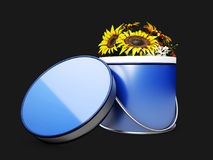 Colorful Sunflower in the flower box, 3d Illustration on black background Stock Photo