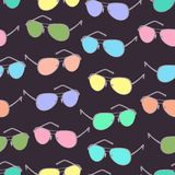 Colorful sunglasses seamless pattern, vector accessory background. Cartoon drawing multicolored bright spectacles on. Dark purple background, vintage retro royalty free illustration