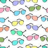 Colorful sunglasses seamless pattern, vector accessory background. Cartoon drawing multicolored bright spectacles on. White background, vintage retro vector illustration