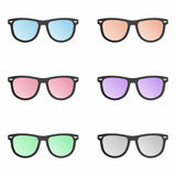 Colorful sunglasses set. Vector set - Colorful sunglasses set royalty free illustration