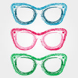 Colorful sunglasses. Sketched with crayon Royalty Free Stock Image