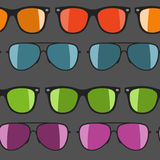 Colorful sunglasses on white background. Vector illustration. Vector seamless hand drawn pattern Royalty Free Stock Photography