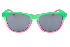 Colorful sunglassess, translucent green and red, unisex, grey le Royalty Free Stock Image