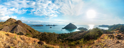 Colorful sunny day panorama at Amelia sunset point. Colorful sunny day panorama at Amelia sunset point, Labuan Bajo, Flores Island, Indonesia royalty free stock photography