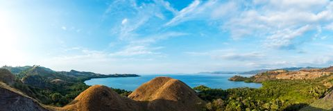 Colorful sunny day panorama at Amelia sunset point. Colorful sunny day panorama at Amelia sunset point, Labuan Bajo, Flores Island, Indonesia stock image