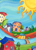 Colorful sunny houses Stock Images