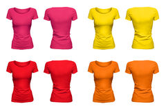 Colorful sunny T-Shirts. Isolated blank T-Shirts with hollow effect on white background; front and back Royalty Free Stock Photography