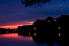 Colorful sunrise in Annapolis, MD. Colorful sunset in Annapolis, MD near the U.S. Naval Academy Stock Images