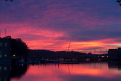Colorful sunrise in Annapolis, MD. Colorful sunset in Annapolis, MD near the U.S. Naval Academy Stock Photos