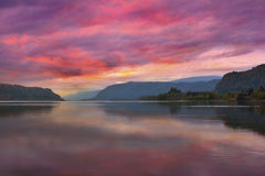 Colorful Sunrise At Columbia River Gorge In Portland Oregon Stock Images