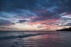 Colorful sunrise on Atlantic Ocean coast. Bavaro. Beach, Hispaniola Island. Dominican Republic, coastal landscape Stock Photo