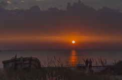 Colorful sunrise on Baltic sea Royalty Free Stock Images