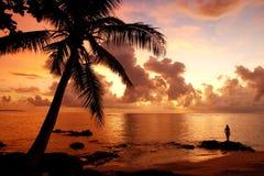 Colorful sunrise  on the beach in Lavena village in Taveuni Isla Stock Photo