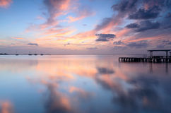 Colorful sunrise with beautiful reflections at Mar Menor Royalty Free Stock Photos