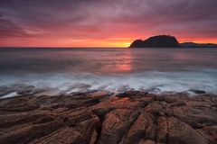 Colorful sunrise in Cantabric sea, Getaria. Gipuzkoa royalty free stock photography