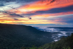 Colorful sunrise on the cliff (Loneliness Cliff View). Khao yai national park, Thailand Royalty Free Stock Photography