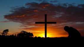 Colorful Sunrise Cross Stock Photos