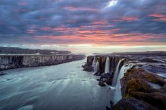 Famous Selfoss waterfall. Colorful sunrise on Famous Selfoss waterfall, Jokulsargljufur National Park, Iceland Royalty Free Stock Images