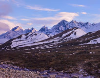 Colorful sunrise in Himalayan Mountains. Sagarmatha national par Royalty Free Stock Photography