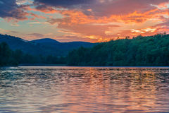 Colorful Sunrise at Julian Price Lake Royalty Free Stock Images