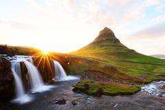 Colorful sunrise on Kirkjufellsfoss waterfall Royalty Free Stock Photo