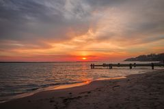 Colorful sunrise on Lake Michigan. In Milwaukee, Wisconsin Stock Photos
