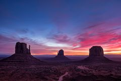 Colorful sunrise landscape view at Monument valley national park, Arizona Royalty Free Stock Photos