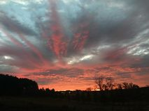 Colorful Sunrise. Massive display of colors as the sun rises over the horizon stock photography