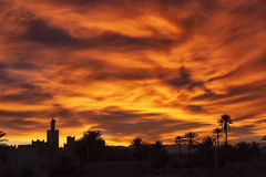 Colorful sunrise with mosque and date palms. Stock Image