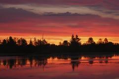 Colorful Sunrise. Multi-colored sunrise over a pond at Seney National Wildlife Refuge Stock Image