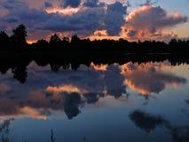 Colorful sunrise near lake Stock Image