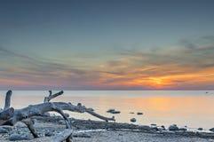 Colorful sunrise near a village of fishermen, Baltic Sea Stock Photography