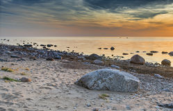 Colorful sunrise near a village of fishermen, Baltic Sea Royalty Free Stock Images