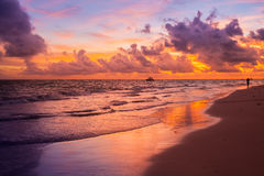 Colorful sunrise over Atlantic Ocean. Bavaro beach, Hispaniola Island. Dominican Republic, coastal landscape Royalty Free Stock Photo