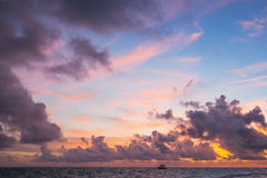 Colorful sunrise over Atlantic Ocean. Bavaro , Hispaniola Island. Dominican Republic, coastal landscape Royalty Free Stock Photo