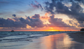 Colorful sunrise over Atlantic Ocean. Coast, Bavaro beach, Hispaniola Island. Dominican Republic, coastal landscape Royalty Free Stock Images