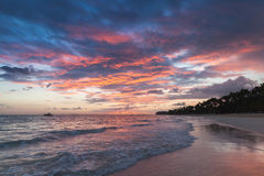 Colorful sunrise over Atlantic Ocean coast. Bavaro beach, Hispaniola Island. Dominican Republic, coastal landscape Royalty Free Stock Photography