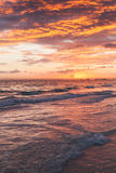 Colorful sunrise over Atlantic Ocean coast. Bavaro beach, Hispaniola Island. Dominican Republic, vertical coastal landscape Royalty Free Stock Photo