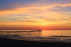 Colorful Sunrise over Atlantic Ocean. Colorful sunrise over the Atlantic Ocean in Rodanthe Stock Photo