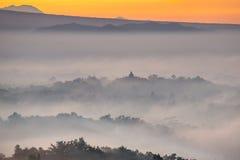 Colorful sunrise over Borobudur temple Royalty Free Stock Image