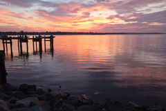 Colorful sunrise over the Chesapeake Bay, at the dock. Colorful sunrise at Havre de Grace, MD Stock Image
