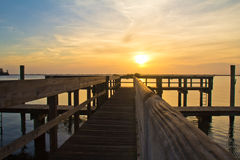 Colorful sunrise over the Chesapeake Bay. Colorful sunrise at Havre de Grace, MD dock Royalty Free Stock Images