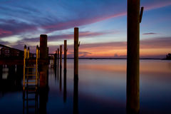 Colorful sunrise over the Chesapeake Bay. Colorful sunrise at Havre de Grace, MD dock Stock Photography