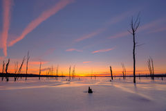 Colorful sunrise over a frozen lake Royalty Free Stock Images