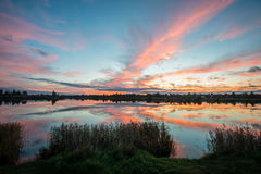 Colorful sunrise over the lake Royalty Free Stock Images