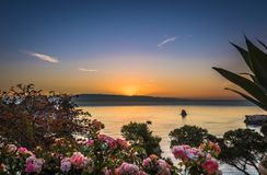 Colorful sunrise over the Mediterranean Sea, Taormina , Sicily royalty free stock photography